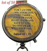 For I Am The Lord Your God Engraved Compass With Leather Case Pocket Compass