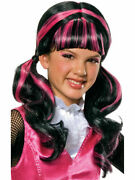 Brand New Monster High Draculaura Childand039s Black And Pink Costume Wig