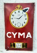 1930's Vintage Old Rare Cyma Watches Advertisement Porcelain Enamel Sign Board