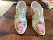 Antique Miniature Pair Royal Bayreuth Porcelain Tapestry Roses Floral Lady Shoes