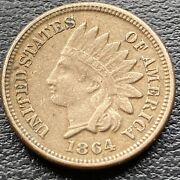 1864 Indian Head Cent 1c One Penny Copper Nickel Better Grade Vf 30464