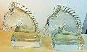 A. H. Heisey And Co. Clear 7 Glass Horse Head Bookends 1938