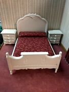 Dollhouse Miniature Double White Bed With Nightstands Set