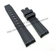 20mm Black Rubber Watch Band Strap Comp. Omega Seamaster Diver 300m Co‑axial