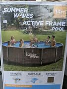 Summer Waves 14and039x36 Wicker Print Metal Frame Pool And Filter Pump Free Shipping