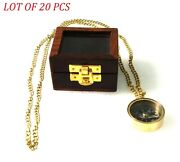 Collectible Necklace Compass With Wooden Box Brass Nautical Mini Pocket Compass