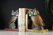Handmade Wooden Carving Owl Book Ends Office Study Room Decoration