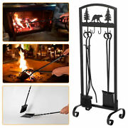 5pcs Fireplace Tool Set With Poker Tongs Broom Shovel Stand Brass Handle Tools