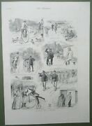High Wheeler Bicycle Tour In France Penny Farthing Cycling Antique Print 1886