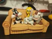 Extremely Rare Looney Tunes Babies Taz Sylvester Tweety Bugs On Bench Statue