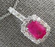 Estate 2.43ct Diamond And Aaa Ruby 14k White Gold Emerald Cut And Round Halo Pendant