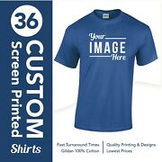 36 Screen Printed T-shirts - With Up To 6 Color Design - Pick T-shirt And Color