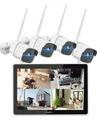 Toguard 1080p Wireless Security Camera System 12 Inch Lcd Monitor, 8ch Nvr 4 Pcs