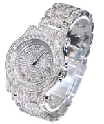 Amazing Roman Number Dial In 925 Sterling Silver With Bright Cz Men's Fine Watch