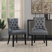 Beautiful Antique Style Dining Chair 6pc Set Upholstered Gray Fabric Furniture