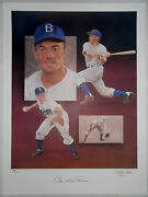 Pee Wee Reese Signed Christopher Paluso Lithograph Brooklyn Dodgers Hof /500