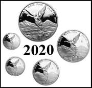 2020 Mexico Silver Proof Libertad 5 Coins 1 1/2 1/4 1/10 And 1/20 Oz Set
