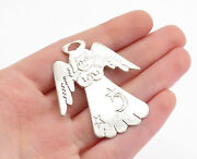 925 Sterling Silver - Vintage Shiny Etched Angel Woman Brooch Pin - Bp1732