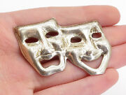 Mexico 925 Sterling Silver - Vintage Dramatic Theater Masks Brooch Pin - Bp1808