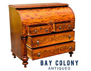 19th C Antique Federal Period Classical Mahogany Cylinder Roll Desk