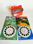 Tyco View-master Model L Red Viewer Disney The Lion King And Monsters Inc. 3d Sets
