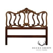 French Louis Xv Style Vintage Fruitwood Partial Gilt Queen Headboard
