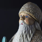 """Russian Santa Ded Moroz 12"""" Hand Carved Painted Wooden Figure 2002 Signed /g"""