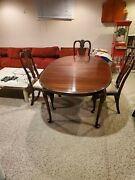 Ethan Allen Mahogany Dining Set Table With 6 Chairs And China Cabinet