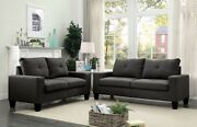 Gray Linen Contemporary Living Room Furniture 2piece Sofa Set Buttonless Tufted