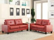Red Pu Contemporary Living Room Furniture 2piece Sofa Set Buttonless Tufted