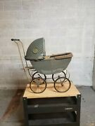 Vintage / Antique Wicker Baby Doll Carriage Stroller Buggy Light Blue/grey