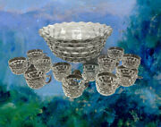 Vintage Fostoria Glass Heavy 14andrdquo Punch Bowl And 12 Cups