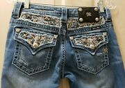 Miss Me Signature Boot Denim Distressed Jeans. Size 26 Rise 7 Waist 14 Hips 17.5