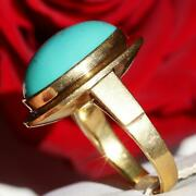 Antique 22k Yellow Gold 9.5ct Turquoise Solitaire Sz 8 Ring Handmade 10.4gr N730