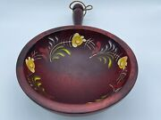 Vintage Woodcroftery Hand Painted Oval Snack Nut Chip Bowl Handle Cherry Decor