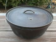 Vintage Lodge 12 Co D Cast Iron Camp Dutch 3 Footed Oven W/lid 18 Lb