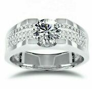 Menand039s Ring 18k White Gold 1 Ct Clean Moissanite Claw Setting