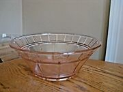 Vintage Jeanette Pink Depression Glass Paneled And Floral 8 1/4 Console Bowl