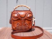 Tiki Leather Purse Marquesa In Wood Grain Motif With Bamboo Handle And Brass