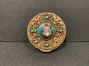 Antique French Ormolu And Enamel Limoges Portrait Compact Patch Trinket Box Mirror
