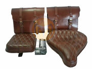 New Brown Leather Saddle Bag Front Rear Seat For Royal Enfield Classic C5 Efi