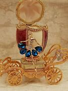Sapphire Queen Mother Trinket Faberge Music Wife Natural Egg And Bracelet 24k Gold