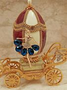 Sapphire Blue Empress Faberge Egg Oneonly Music Trinket Box And Bracelet 24kt Gold