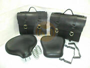 Royal Enfield Black Leather Saddle Bags And Front Rear Seat Bullet Standard