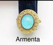 Emily Armenta Diamond Turquoise Doublet Gold Ring Gently Used Preowned