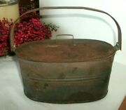 Vintage Oval Tin Lunch Pail/bucket