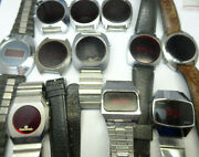 Timex Ti Gillete Lot Of 12 Vintage Red Led Silver Color Case Watches For Repair