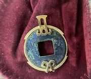10k Gold Pendant - Ancient Chinese Wu Shu Coin Of The Han Dynasty - Goa