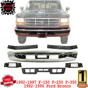 Front Bumper Chrome + Molding + Brackets For 92-96 Ford Bronco / 92-97 F-150-350