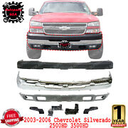 Front Bumper + Upper And Lower Cover + Brackets For 2003-06 Silverado 2500hd 3500